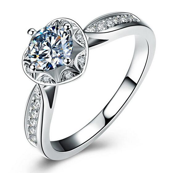Luxury 65mm Simulated Diamond Rings for Women Sterling Silver