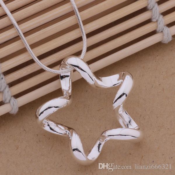 Gratis frakt med spårningsnummer Bästa mest heta sälja Kvinnors känsliga presentsmycken 925 Silver Hollow Fem-spetsigt Star halsband
