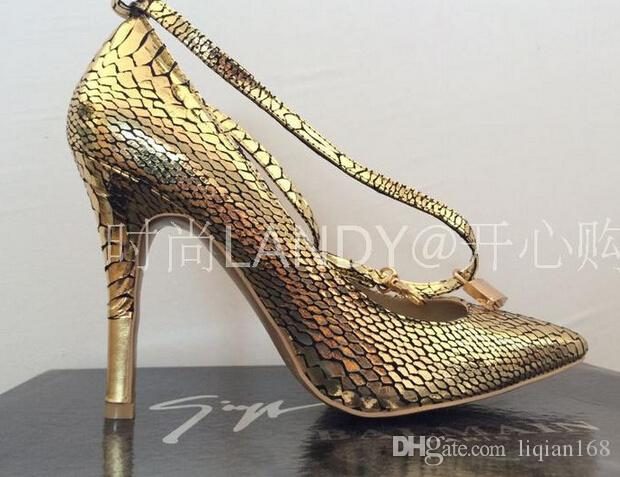 New Arrival Luksusowe Kobiety Pompy Design Złoty Zamek Kostki Pasek Damskie Szpilki Prawdziwej Skóry Sukienka Buty Ślubne Dla Kobiety