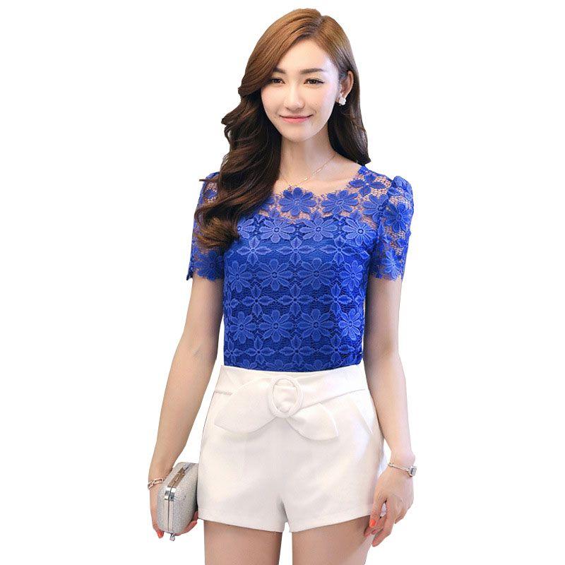 4a2c13c3d39 Plus Size Women Lace-Blouses Xl Xxl 3xl 4xl 5xl 6xl Short Sleeve ...