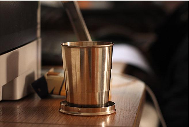 2016 Hot Travel merci all'aperto in acciaio inox tazza telescopica pieghevole tazza di vetro tazza portatile tazza di viaggio contrazione