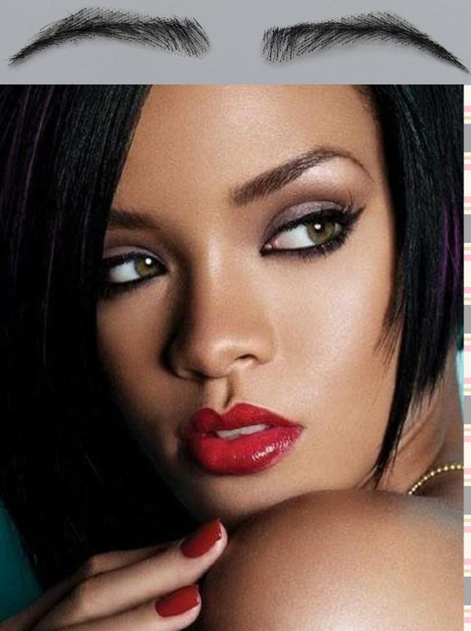 Rihanna Style Henna Eyebrows Black Color Human Hair False Eyebrow