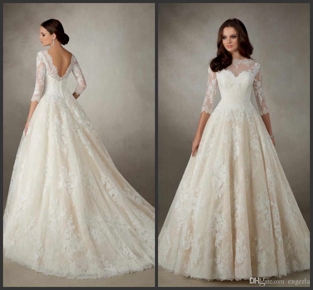 Discount Champagne A Line Wedding Dresses Ronald Joyce Amalfi 69114 ...
