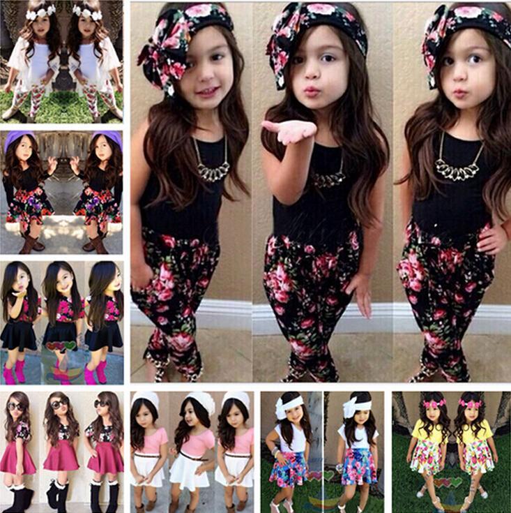 796417ab2229 2019 Girls Summer Clothing Sets Kids Girls Floral Skirt+T Shirt Clothing  Sets Children Short Sleeved Clothing Sets From Eyeswellsummer