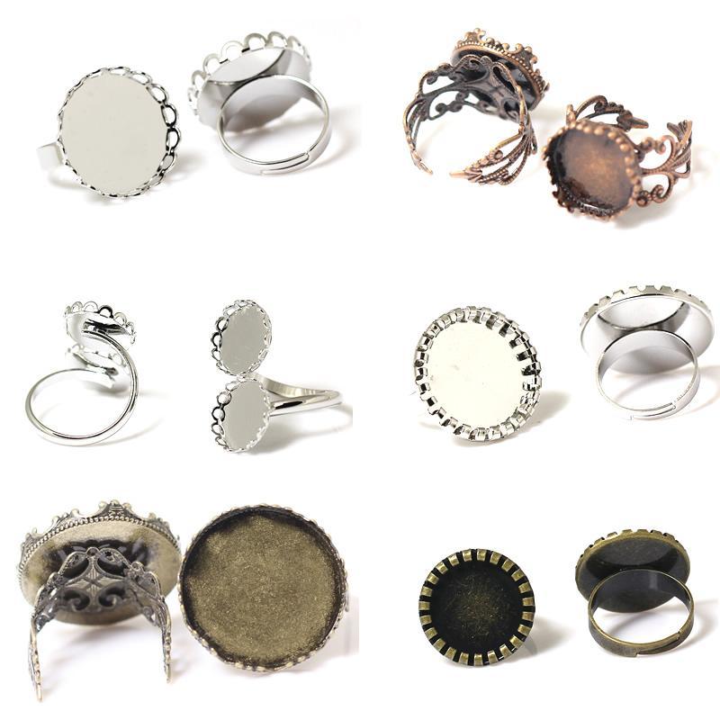 Beadsnice Оптовая кольцо пустое кольцо база филигрань кольцо с краем короны кабошон настройки регулируемые выводы кольцо ID 32251