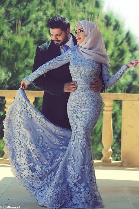 ラベンダーハイネック長袖フル並んだマーメイドイスラム教徒のイブニングドレス無料Hijabレースアップリケチャペル列車婚約ガウン