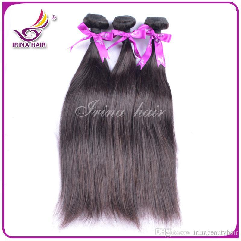 Cabelo virgem malaio feixes retos 6A malaio remy tece 100g / strand 4 Pacotes por lote não transformados remy extensões de cabelo não transformados