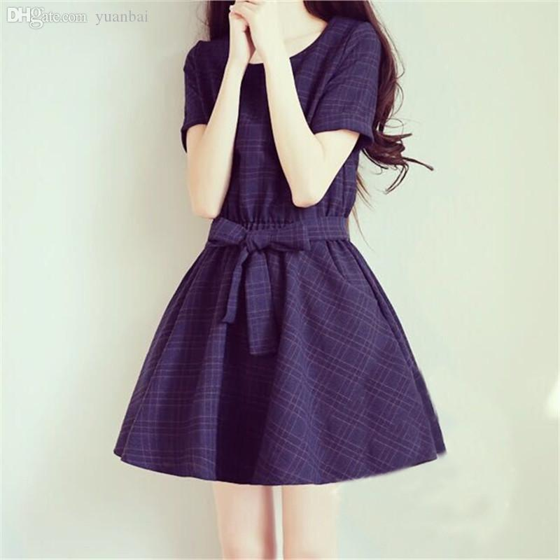 Wholesale Japan Style Women S Plaid Dress 2015 New Summer Kawaii