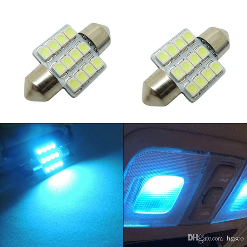 2 ampoules de voiture 12-SMD 5050 LED lumière de travail intérieur de voiture intérieur Aqua Blue Lights CLT_00P