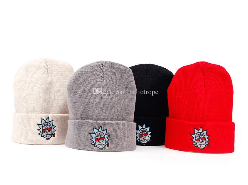 Rick And Morty Beanie Rick Smoking Hats Elastic Brand Embroidery Warm  Winter Knitted Hat Skullies US Animation Ski Red Eyes Cap Ny Caps Ball Cap  From ... d08ee78b71e