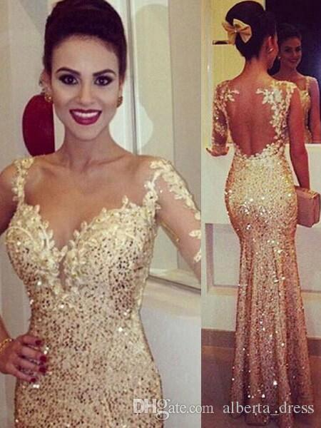 Shining Gold Fitted Prom Dresses 2015 Asymmetrical Lace Appliques Sheer Long Sleeve Open Back Sequin Prom Dress Glitzy Pageant Gowns Online