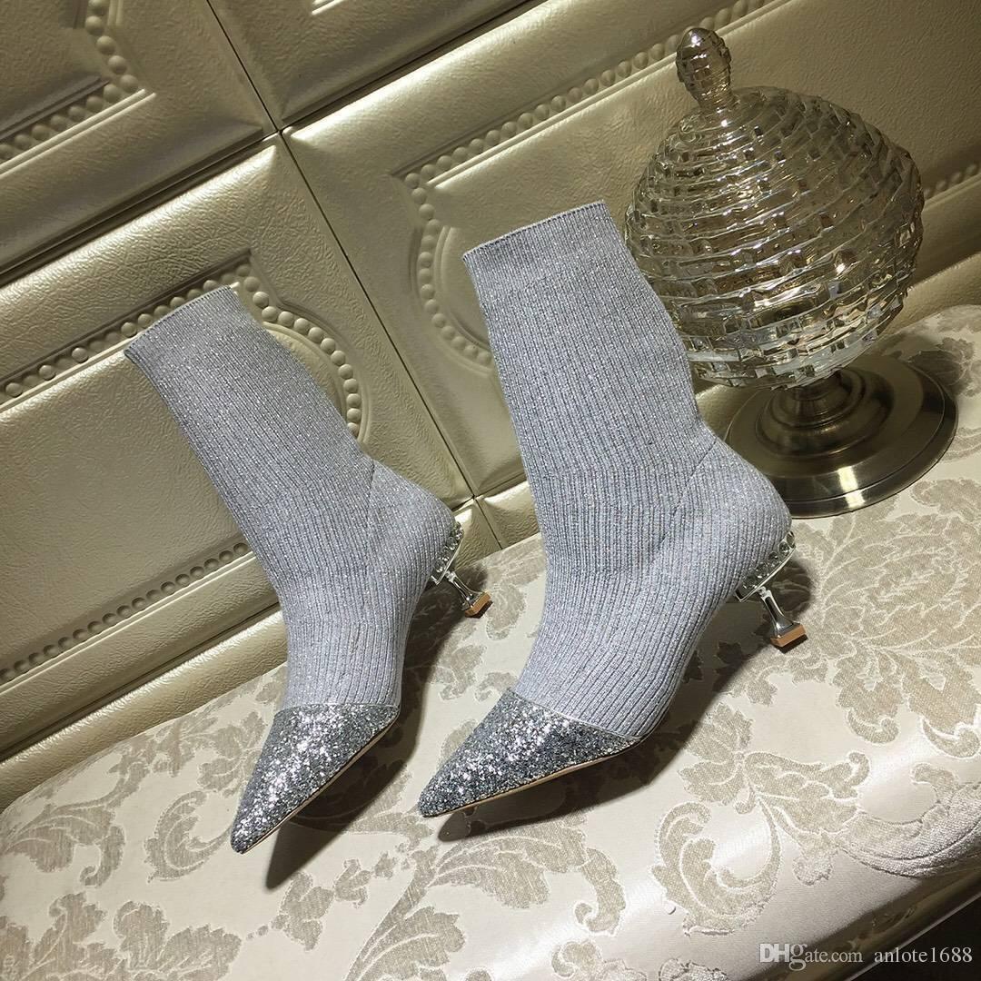 Blingbling dedo do pé apontado meias ankle boots mulheres saltos de cristal botas curtas 55mm saltos catwalk bombas vestido de casamento sapatos caixa original