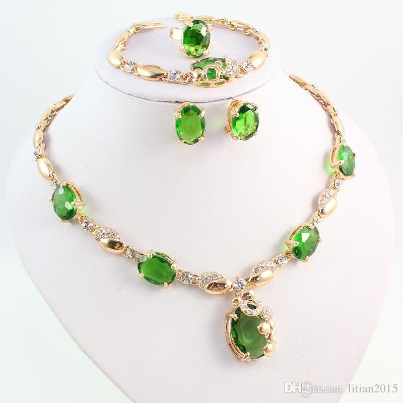 New Arrival Green Zircon Rhinestone Pendant Necklace Women 18k Gold Plated Wedding Bridal Costume Jewelry Sets