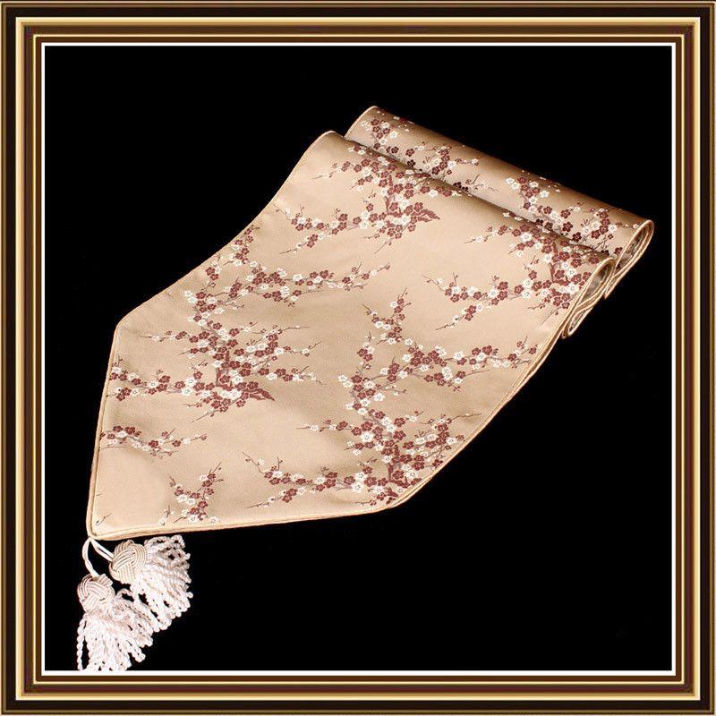 Moderno ed elegante cinese raso di seta Runner I fiori di ciliegio damasco decorativo Tovaglia Runners Tavolo rettangolare Mat 200x33 cm