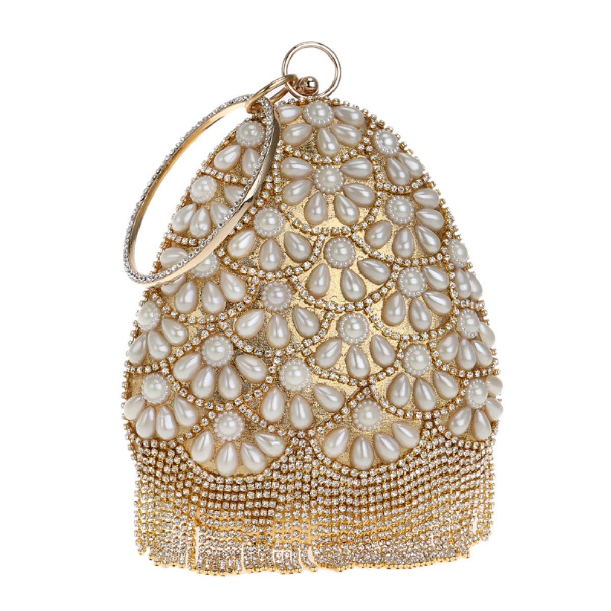 New Bucket Shaped Pearl Diamond Tassel Women Evening Bag Lady Beaded  Rhinestones Clutch Chain Shoulder Bag Handbag For Party Wedding Dinner  Handbags Brands ... 087a6c316b6f
