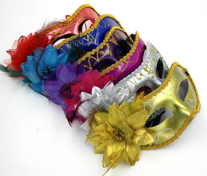 Venetianische Masken-Maskerade-Masken der Frauen-Sexy Hallowmas mit Blumenfedermaske Tanzpartymaske Venedig-Partymasken