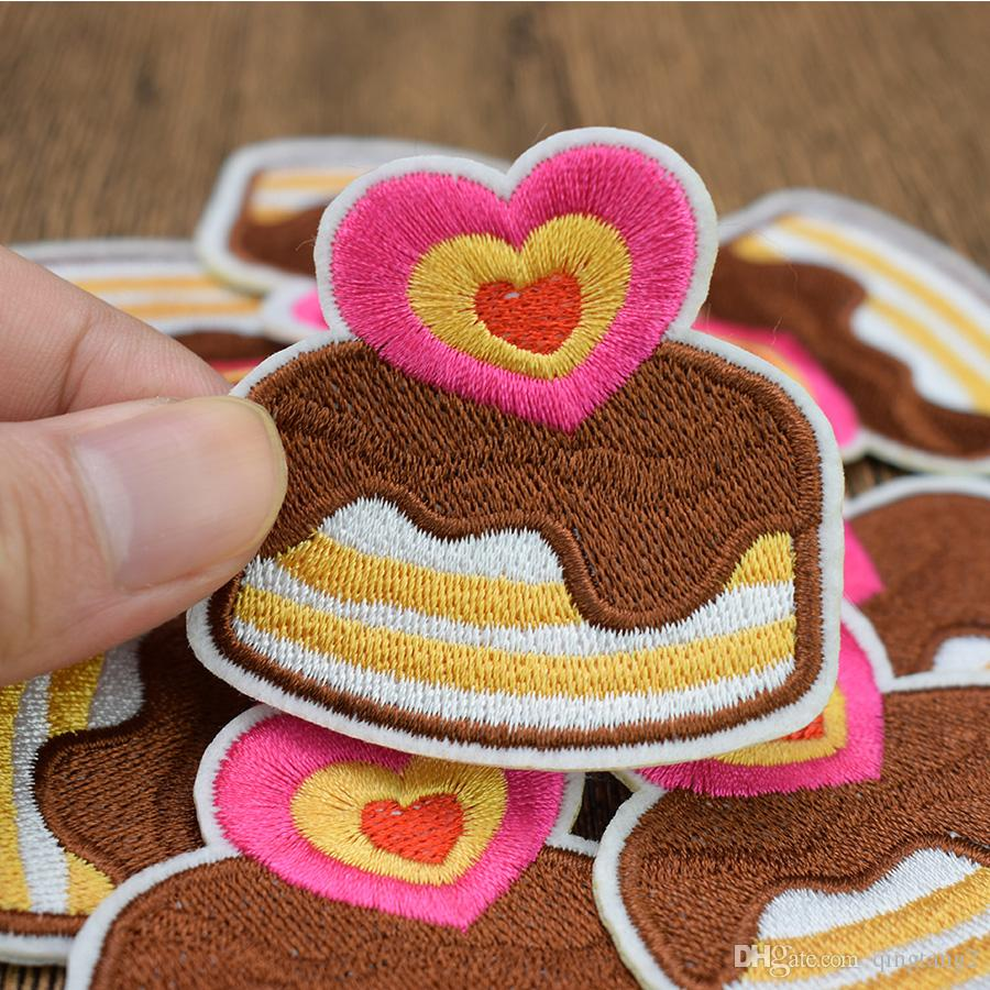Love Cake Embroidery Patches for Clothing Bags Iron on Transfer Applique Patch for Garment Jeans DIY Sew on Embroidery Badge