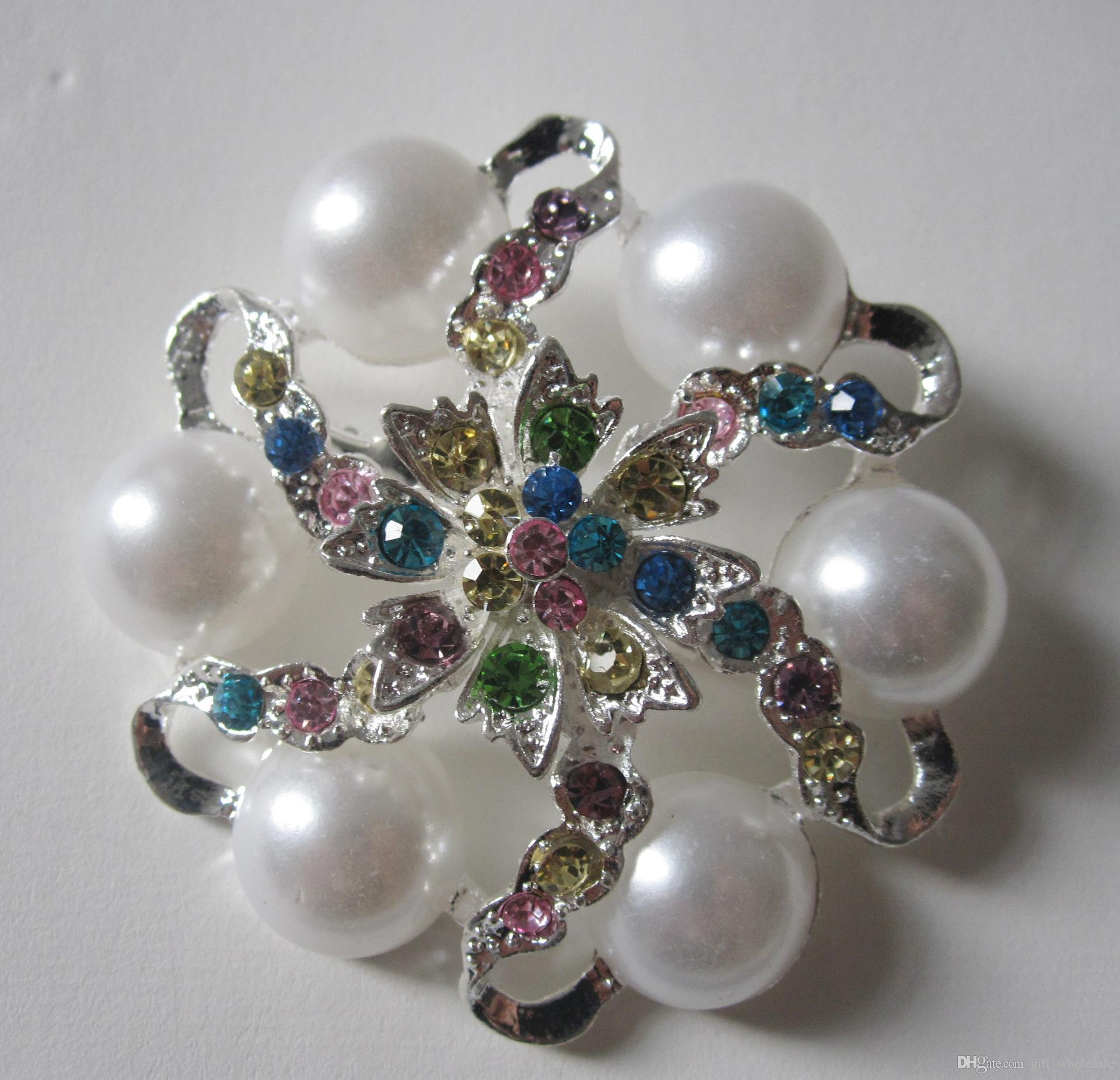 8 Mix Styles Vintage Alloy Large Size Flower Rhinestone Diamante Crystal Pearl Brooch for Women and Bridal Party