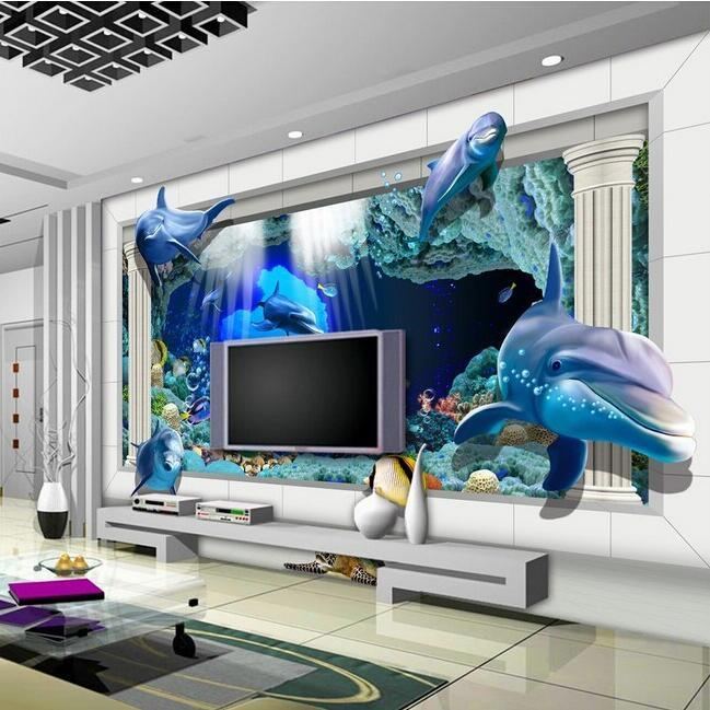 Cheap sale super 3d wallpaper mural underwater world for Cheap wallpaper mural