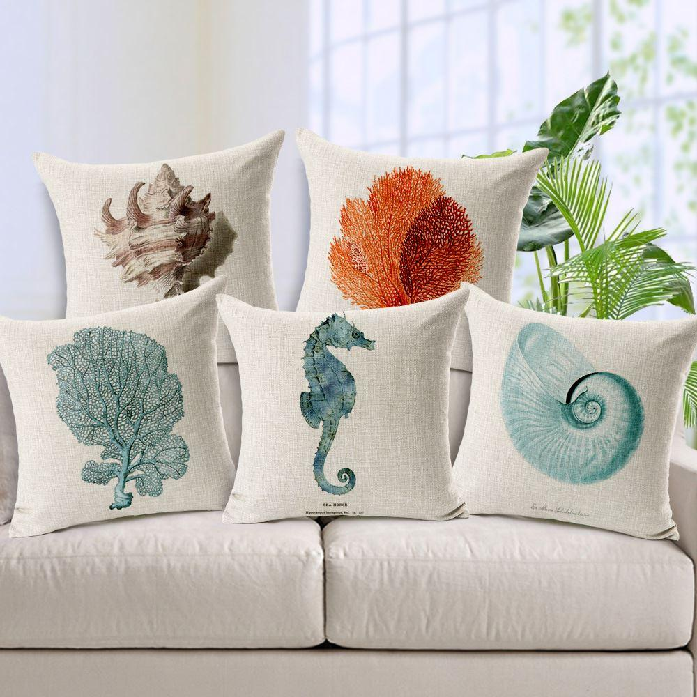 Nautical Style Cushion Cover Hippocampus Starfish Pillows Case Cotton Linen  Capa Para Almofadas Hand Painted Decorative Pillow Cover Replacement Outdoor  ...