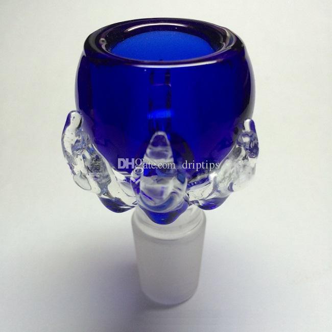 7mmの厚さのドラゴン爪の男性のジョイントガラスのガラスのボウルのためのガラスのボウルのためのガラスのバブラー14.4mm 18.8mm在庫の小売包装付き