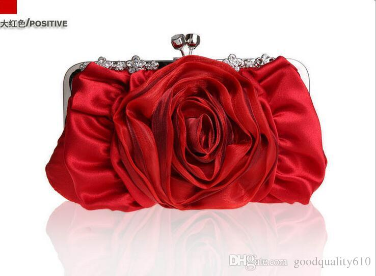 Fashion Elegant Flower Satin Clutch Banquet Bag Purse Bridal Handbag Chain strap Bride Wedding 12 color For choose 2154