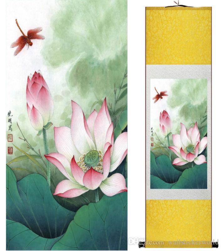1 Peça HD Impresso Flor De Lótus Parede Fotos Rolagem Chinesa Arte Da Parede De Seda Cartaz Imagem Pintura Decoração de Casa Parede Pendurado