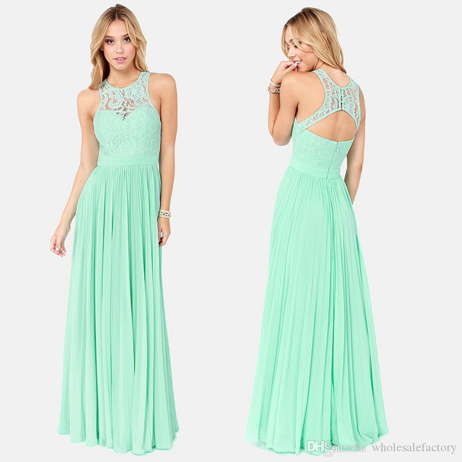 2017 spring mint green chiffon bridesmaid dresses illusion lace tank 2017 spring mint green chiffon bridesmaid dresses illusion lace tank crew neck sleeveless backless ruffles long wedding party dresses pale blue bridesmaid ombrellifo Image collections