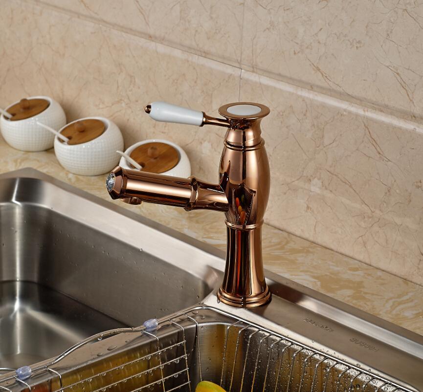 2018 2016 Elegant Rose Golden Kitchen Sink Faucet Single Handle ...