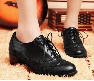 2015 New Classics Women Lace Up Oxford Heels Shoes Boots Boots Low ...