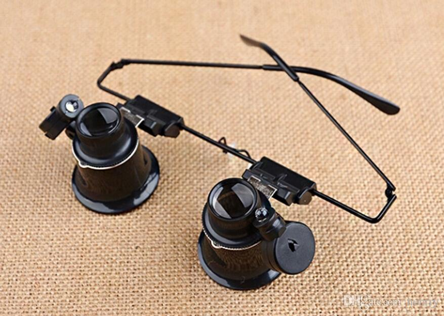 LEDライト付き双眼ヘッドマウント、電子機器修理時計ジュエリーミラー拡大鏡ジュエリー評価9892AII20