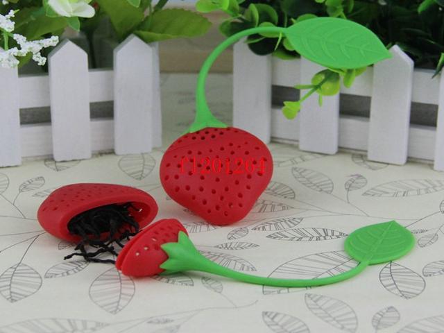 / 페덱스 DHL 실리콘 딸기 디자인 느슨한 차 잎 여과기 초본 향신료 Infuser 필터 도구
