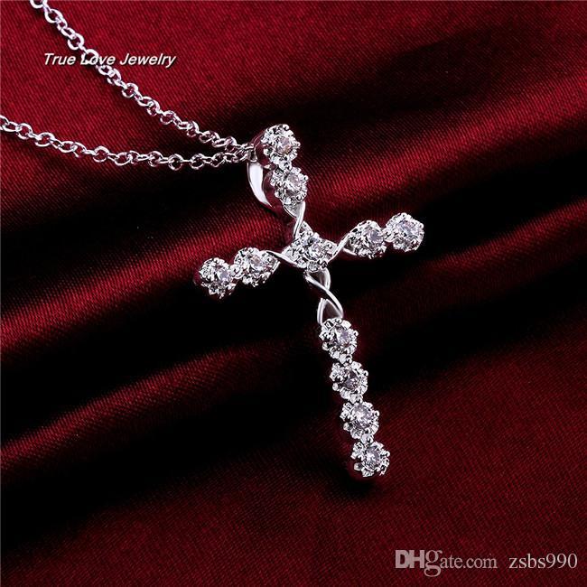 아름다운 디자인 925 스털링 실버 스위스 CZ 다이아몬드 크로스 펜던트 목걸이 패션 보석 결혼식 보석 무료 배송