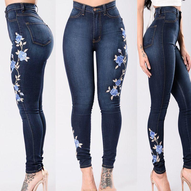 Embroidery Jeans 2017 High Waist Woman Jeans Skinny Plus Size 3XL Winter Denim  Women Slim Mom Push Up Jeans Female Stretch Women's Jeans Female Push Up ...