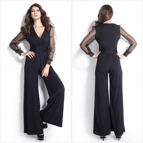2017 2015 New Fashion Black Jumpsuits Women Clothing Dark V Rivet ...