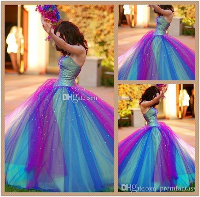 2017 Rainbow Tulle Colorful Ball Gown Wedding Dresses Factory Actual ...