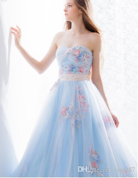 progettista di Famouse di alta qualità di promenade Light Blue sfera di Tulle Abiti da sposa scollo a cuore gonfio di lusso lungo abito da sposa