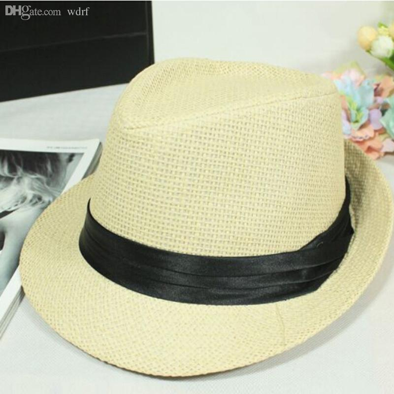 00148c33f8c Wholesale-New Men s Summer Sun Hats Men Fashion Travel Caps Beach Straw Hat  Sunhat Sunbonnet Topee Casual Jazz Hat Hat Pirate Hat Captain Online with  ...