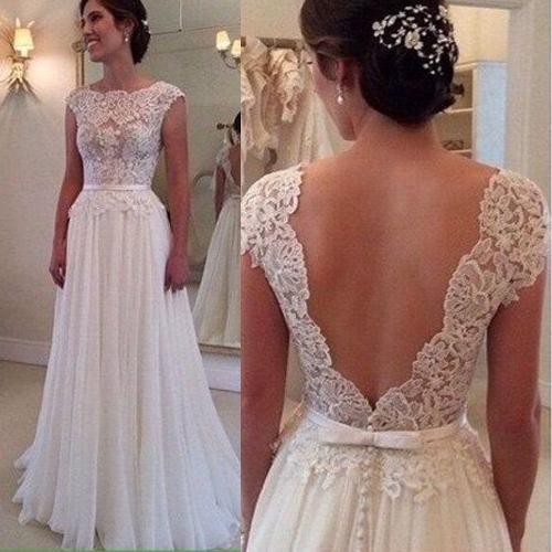 Discount 2016 Lace Wedding Dresses Sleeves Open V Back Boat Neck ...
