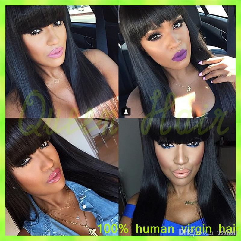 top quality! 6a brazilian virgin human hair full lace wig with bangs lace front straight wig with bleached knots for black women
