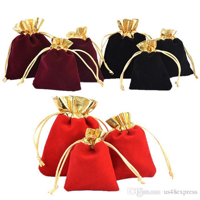 Bolsas de terciopelo colorido con cordón Bolsa de regalo para la joyería Pendiente Paquete Paquete Bolso de la joyería de terciopelo Bolsas Bolsa de caramelo de la boda de Navidad