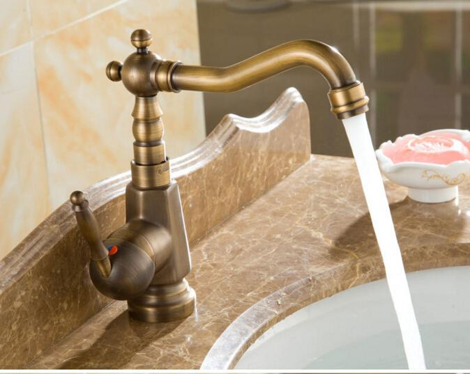 2018 Antique Bronze Finish Swivel Brass Faucet Bathroom Basin Sink ...