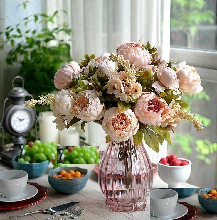 Fiori di seta fiore di simulazione Peony europeo artificiale Peony mazzo 48 centimetri / 18,8 pollici con Ortensia fiori il matrimonio centrotavola decorazione SP0