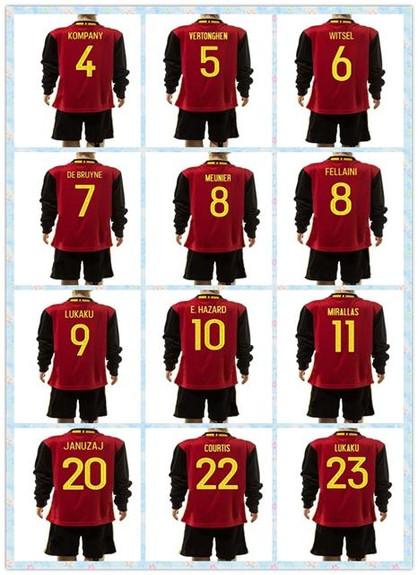 d28e196fa 2019 Top Sell Uniforms Kit 2016 Euro Belgium  10 Hazard Lukaku Kompany  7  De Bruyne Red Youth Kids Long Sleeve Soccer Jersey Jerseys Full Shirt From  ...