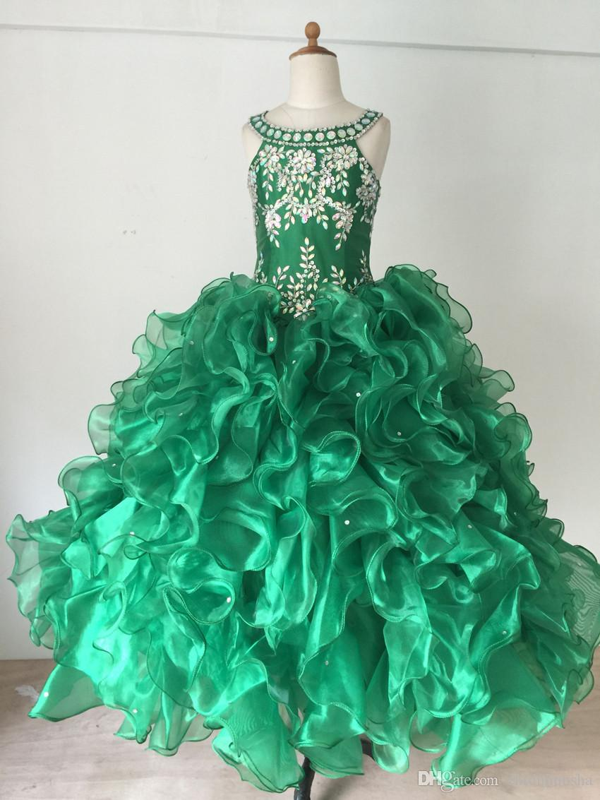Partihandel Girl Dress Luxury Manual Beading Gratis Frakt Hot Sale Fashion Ball Gown Organza Flower Girl CD2013003