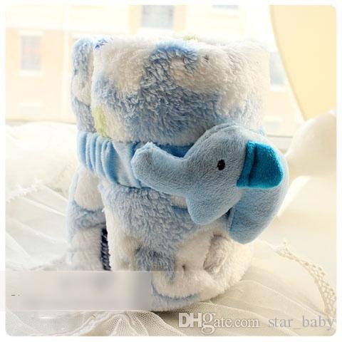 Cute Animal Elephant Infant Ragazzi Ragazze Coperte Invernali 95 * 83CBBaby Bambini Velluto Caldo Cartone Animato Trapunte Childs Bambini Carino Caldo Blacket H2343