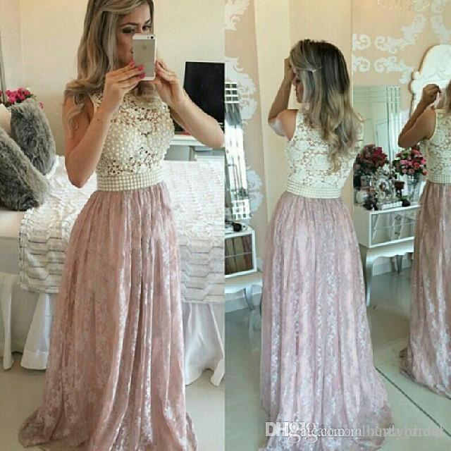 2016 Pink Lace Prom Dresses with Pearls Sexy See Through Ball Gowns Illusion Neck Formal Dresses Evening Dresses for Wedding Event