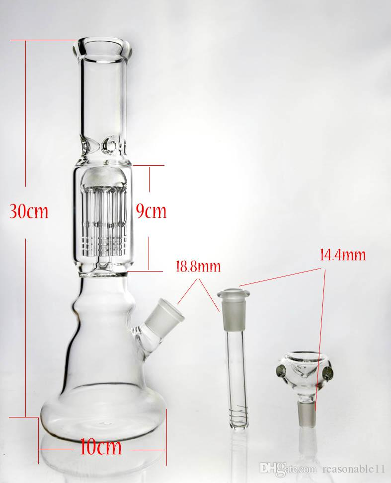 Glass Bong 6-arm Tree Percolator Slitted Diffuse 3 Ice Pinch Bubbler with Large Thick Beaker Base