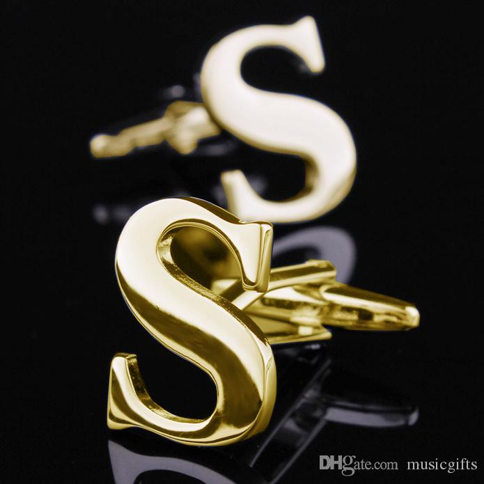 Most Fashion Christmas Gifts Gold Last Name Cufflink For S Letter