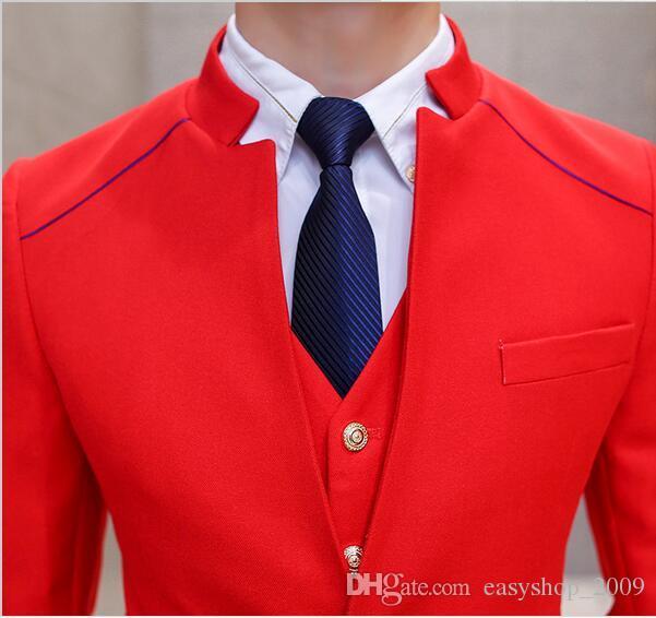 من المألوف سترة بدلة رجالية تصميم الصين الأحمر الكلاسيكي الأسود تناسب اللباس تناسب الرجل أفضل تناسب حرية اختيار أيها الأحمر والأسود الكلاسيكي
